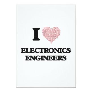 """Amo a los ingenieros electrónicos (corazón hecho invitación 5"""" x 7"""""""
