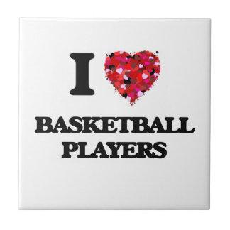 Amo a los jugadores de básquet azulejo cuadrado pequeño