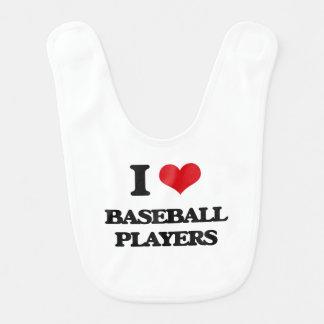 Amo a los jugadores de béisbol babero para bebé