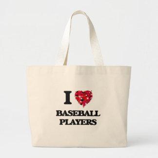 Amo a los jugadores de béisbol bolsa tela grande