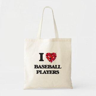 Amo a los jugadores de béisbol bolsa tela barata