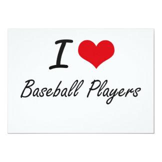 """Amo a los jugadores de béisbol invitación 5"""" x 7"""""""