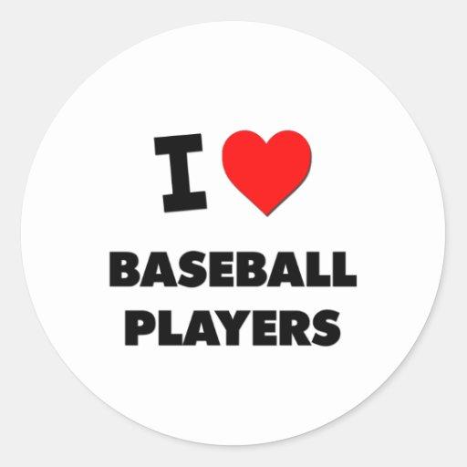 Amo a los jugadores de béisbol etiqueta redonda