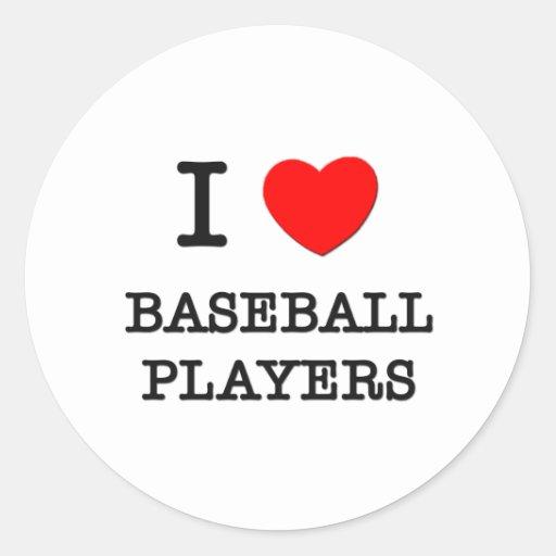 Amo a los jugadores de béisbol pegatinas