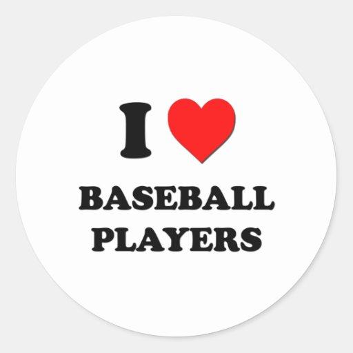 Amo a los jugadores de béisbol pegatina redonda