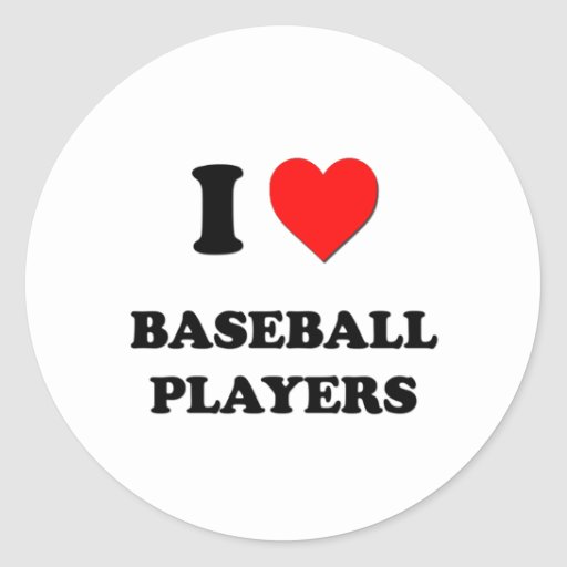 Amo a los jugadores de béisbol pegatinas redondas