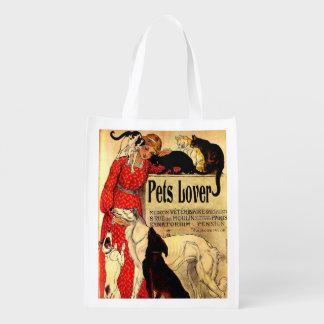 Amo a los mascotas, bolso de compras de los bolsa reutilizable