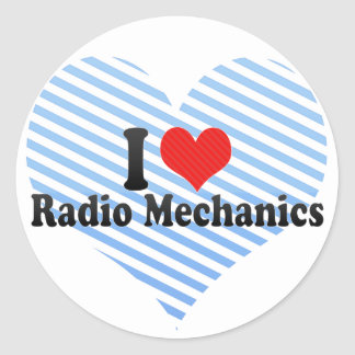 Amo a los mecánicos de radio pegatinas redondas
