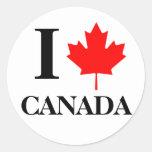 Amo a los pegatinas de Canadá Pegatina Redonda
