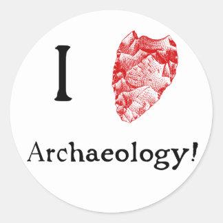Amo a los pegatinas de la arqueología pegatina redonda
