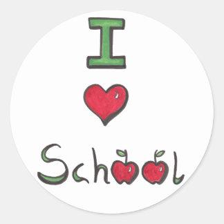 Amo a los pegatinas de la escuela pegatina redonda