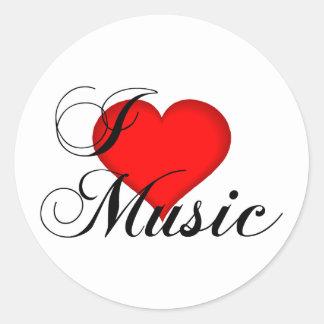 Amo a los pegatinas de la música pegatina redonda