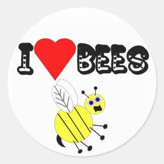 Amo a los pegatinas de las abejas pegatina redonda
