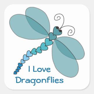 Amo a los pegatinas de las libélulas pegatina cuadrada