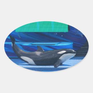 Amo a los pegatinas de las orcas calcomania óval