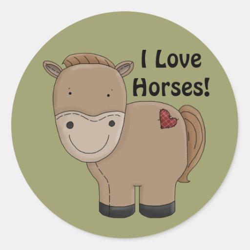 Amo a los pegatinas de los caballos pegatinas redondas