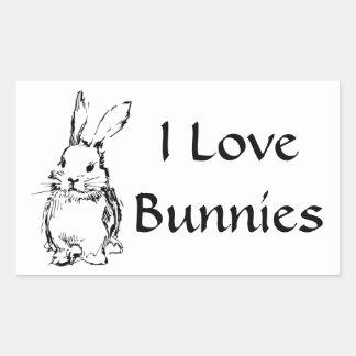 Amo a los pegatinas de los conejitos rectangular altavoz
