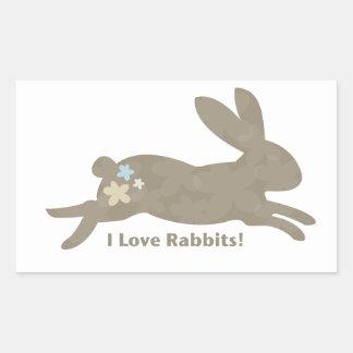 Amo a los pegatinas de los conejos rectangular pegatina