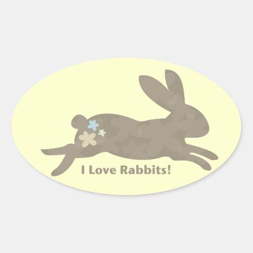 Amo a los pegatinas de los conejos pegatina ovalada