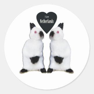 Amo a los pegatinas de los enanos de Netherland Pegatina Redonda