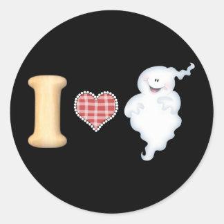 Amo a los pegatinas de los fantasmas etiquetas redondas