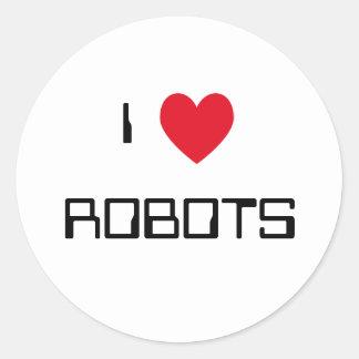 Amo a los pegatinas de los robots pegatina redonda