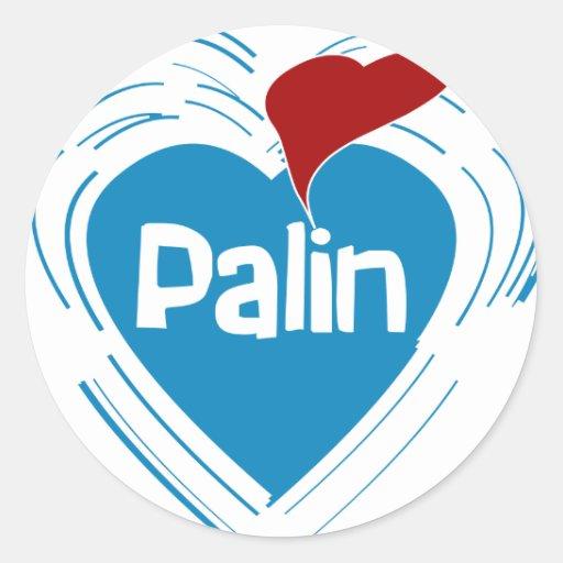 Amo a los pegatinas de Palin Pegatina Redonda