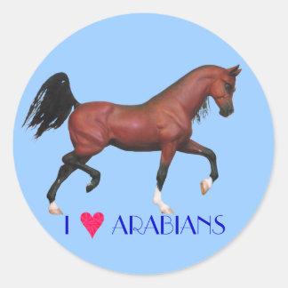 Amo a los pegatinas del arte del caballo de los pegatinas redondas
