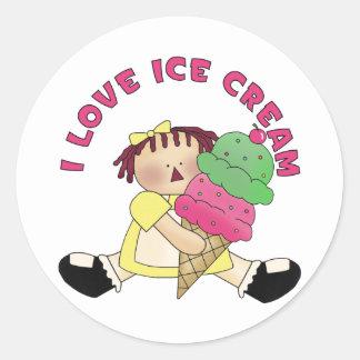 Amo a los pegatinas del helado pegatina redonda