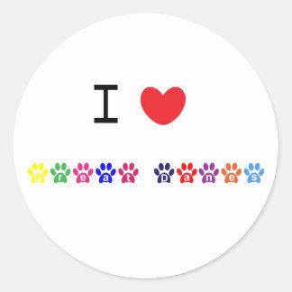 Amo a los pegatinas del perro de los grandes etiqueta redonda