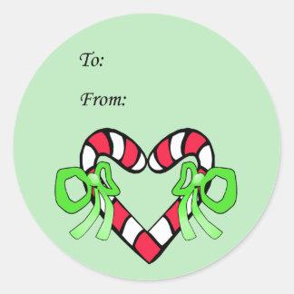 Amo a los pegatinas del regalo del navidad pegatina redonda