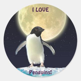 AMO a los pegatinas lindos del pingüino de los Pegatina Redonda