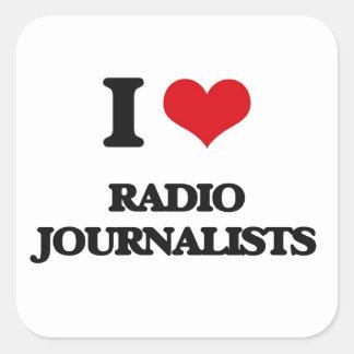 Amo a los periodistas de radio pegatinas cuadradases