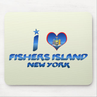 Amo a los pescadores isla, Nueva York Alfombrillas De Raton