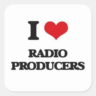 Amo a los productores de radio calcomanías cuadradas personalizadas