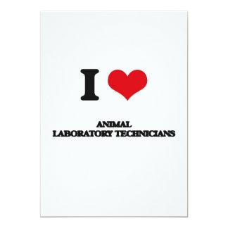 Amo a los técnicos de laboratorio animales invitación 12,7 x 17,8 cm