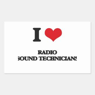 Amo a los técnicos sanos de radio rectangular pegatina