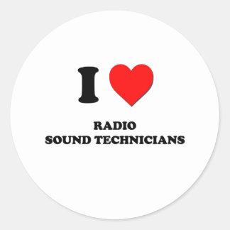 Amo a los técnicos sanos de radio pegatina redonda