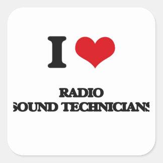 Amo a los técnicos sanos de radio calcomanías cuadradass personalizadas