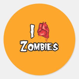 AMO a los ZOMBIS - Halloween - png Etiquetas Redondas
