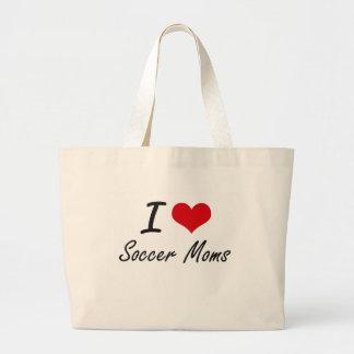 Amo a mamáes del fútbol bolsa tela grande