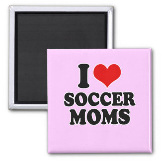 Amo a mamáes del fútbol del amor imán cuadrado