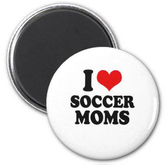 Amo a mamáes del fútbol del amor imán redondo 5 cm