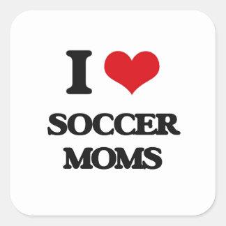 Amo a mamáes del fútbol pegatina cuadrada