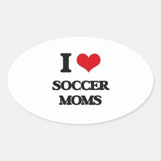 Amo a mamáes del fútbol pegatina ovalada