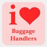 Amo a manipuladores de equipaje pegatina cuadrada