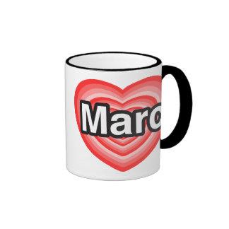 Amo a Marc. Te amo Marc. Corazón Taza De Dos Colores