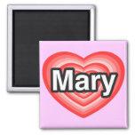 Amo a Maria. Te amo Maria. Corazón Imán Para Frigorífico