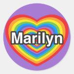 Amo a Marilyn. Te amo Marilyn. Corazón Etiquetas Redondas