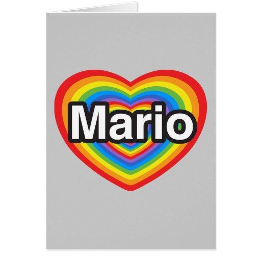 Amo a Mario. Te amo Mario. Corazón Tarjeta De Felicitación